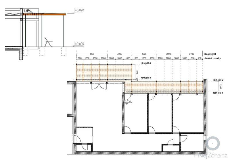 Návrh pergoly k terase rodinného domu: 02_pudorys
