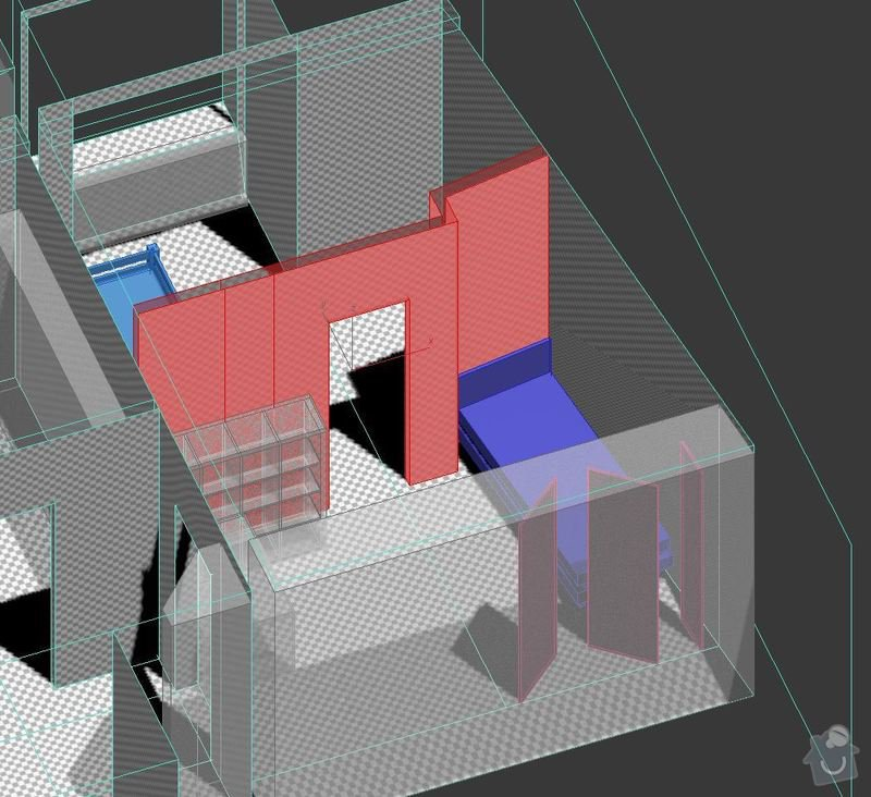 Realizace sádrokartonové příčky 12m2: stena_3D