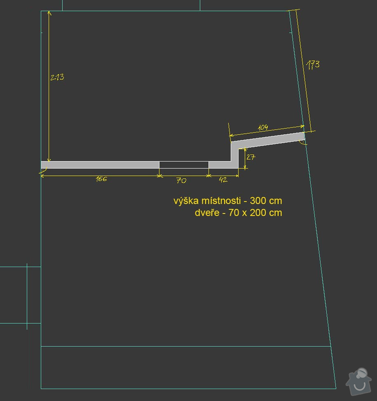 Realizace sádrokartonové příčky 12m2: stena_rozmery