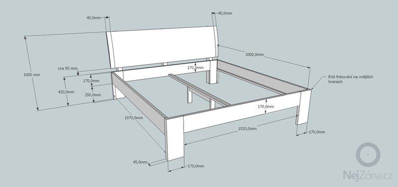 Manželská postel z masivu - ze smrku: 5