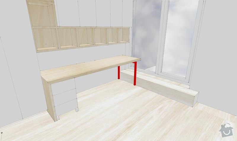 Bílá kovová noha z jeklů pod stůl: Smrzovi_14_11_11_DP_nohaIIIs