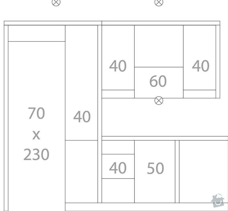 Kuchyňská linka (kazetová dvířka + matná barva) + deska do koupelny + parapety: kuchyne-bokorys-levy