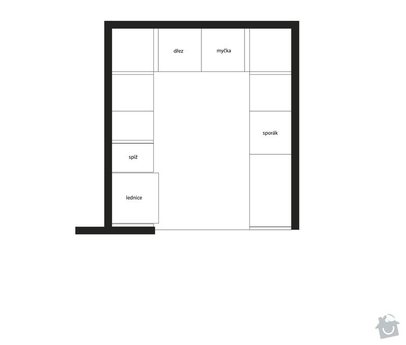 Kuchyňská linka (kazetová dvířka + matná barva) + deska do koupelny + parapety: kuchyne-pudorys