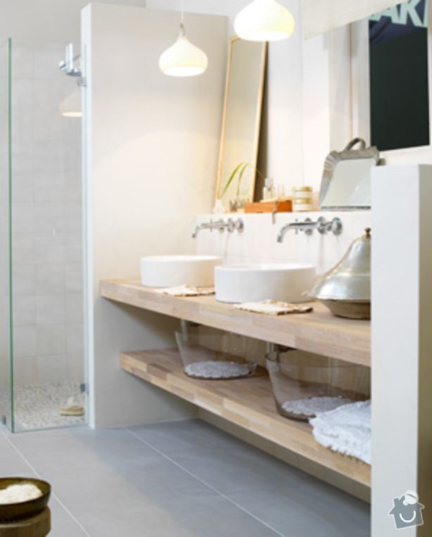 Kuchyňská linka (kazetová dvířka + matná barva) + deska do koupelny + parapety: deska-pod-umyvadla