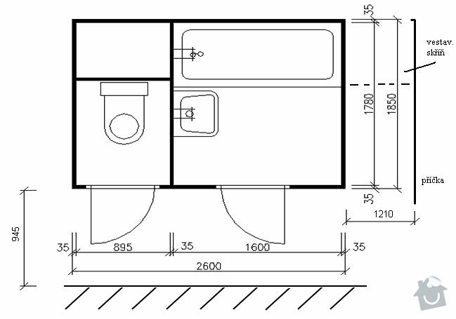 Rekonstrukce bytového jádra: modifikace_AA-I_soucasny_stav