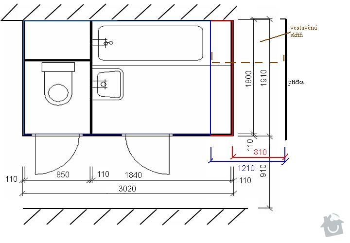Rekonstrukce bytového jádra: prodlouzeni_40_cm__vyznaceni_zmen