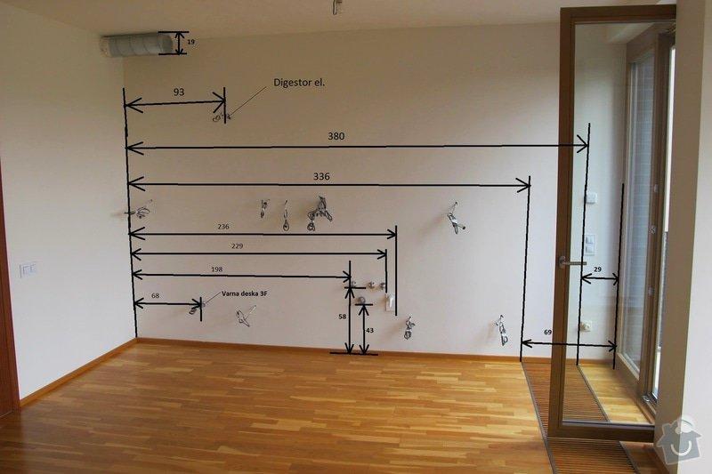 Příprava elektroinstalace před montáží kuchyňské linky: Rozmery