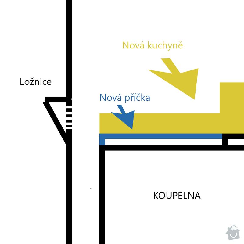 Nová příčka v bytě, obklad + nová podlaha: kuchyne-nakres
