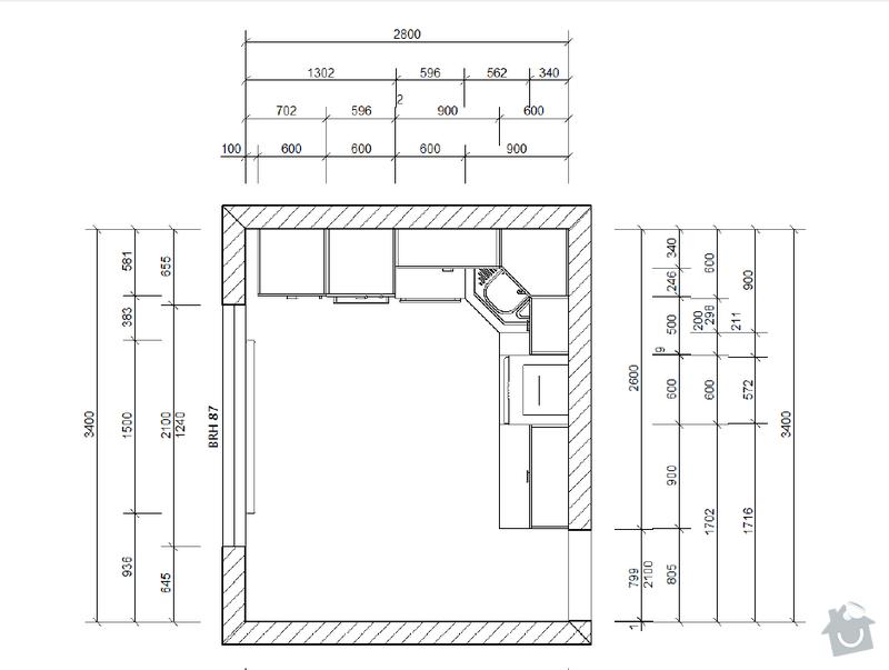 Výroba a montáž kuchyňské linky: plan