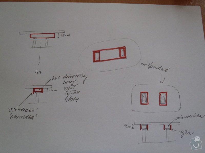 Dřevěný podstavec po desku stolu: PC080369