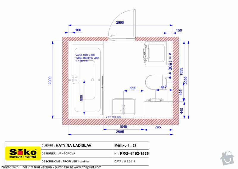 Zadnicke prace v koupelne - Praha Hloubetin: PLAN