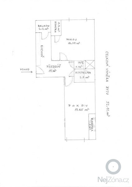 Posunutí zdi a dveří: byt1