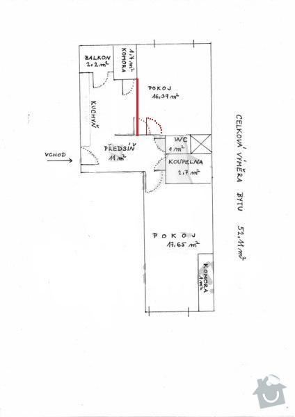 Posunutí zdi a dveří: byt1N