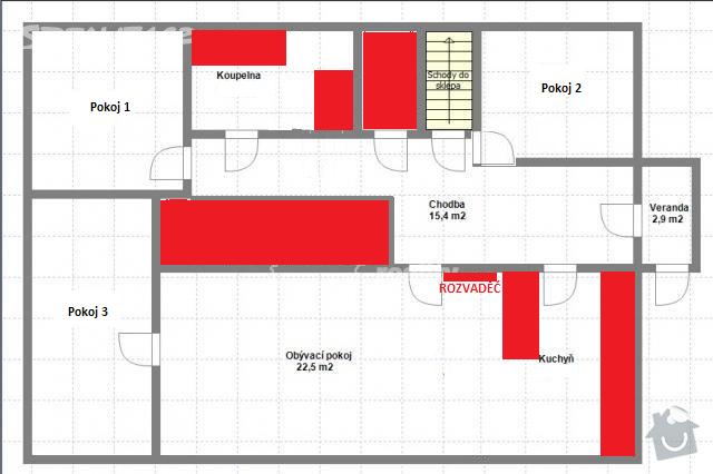 Dodávka a montáž teplovodního podlahového topení: pudorys