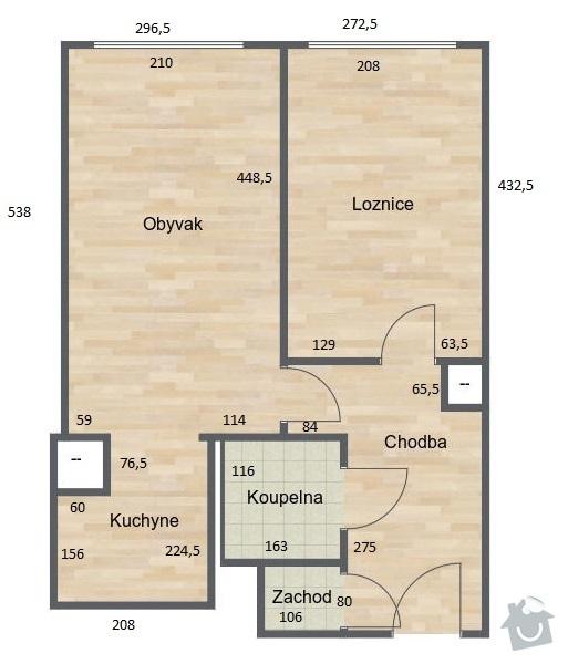 Rekonstrukce bytového jádra: pudorys_byt
