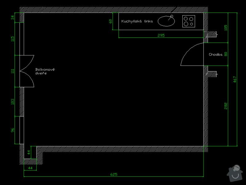 Návrh interiéru bytu 1+kk: byt