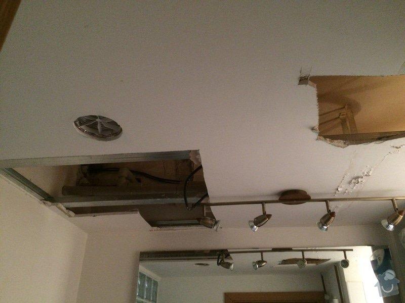 Oprava sádrokartonového podhledu v koupelně: strop