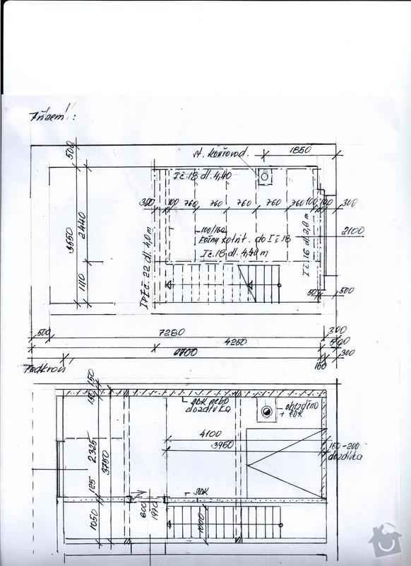 Rekonstrukce půdní vestavby - doplnění pokoje: pudorys