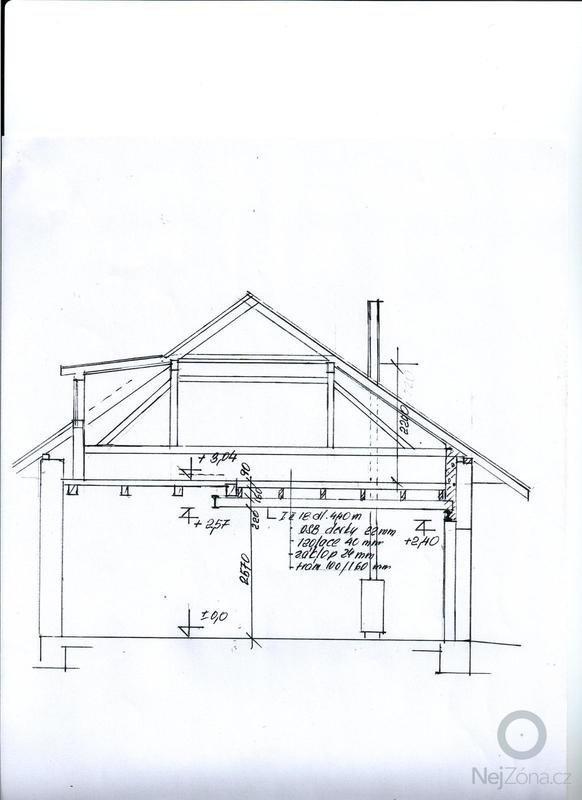 Rekonstrukce půdní vestavby - doplnění pokoje: rez