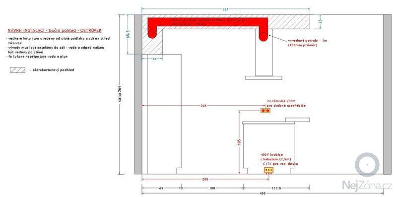 Příprava rozvodů před montáží kuchyňské linky: navrh_instalaci_-_bocni_pohled_-_ostruvek