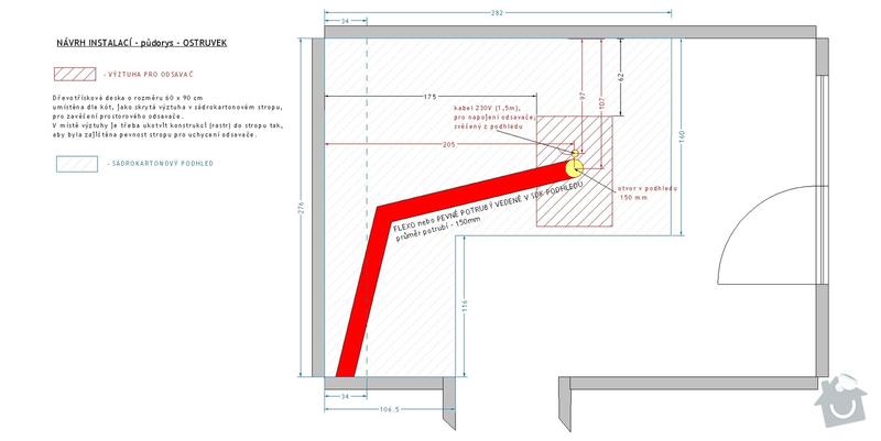 Příprava rozvodů před montáží kuchyňské linky: navrh_instalaci_-_pudorys_-_ostruvek