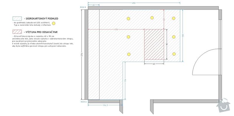 Příprava rozvodů před montáží kuchyňské linky: SDK_podhled_-_pudorys