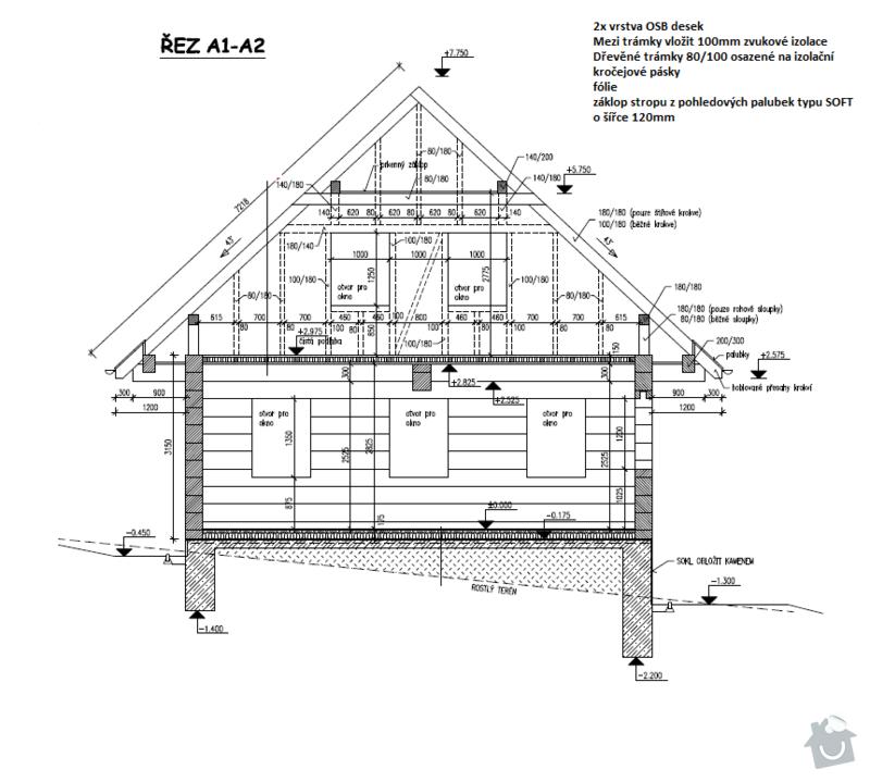 Zhotovení dřevěné podlahy/záklopu ve 2NP RD: Rez1