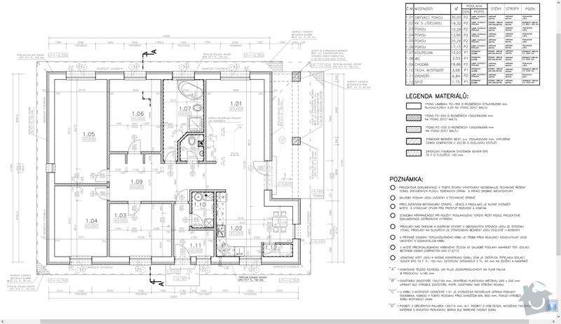 Kompletní podlahové vytápění vč. zalití a ohřev TUV: pudorys