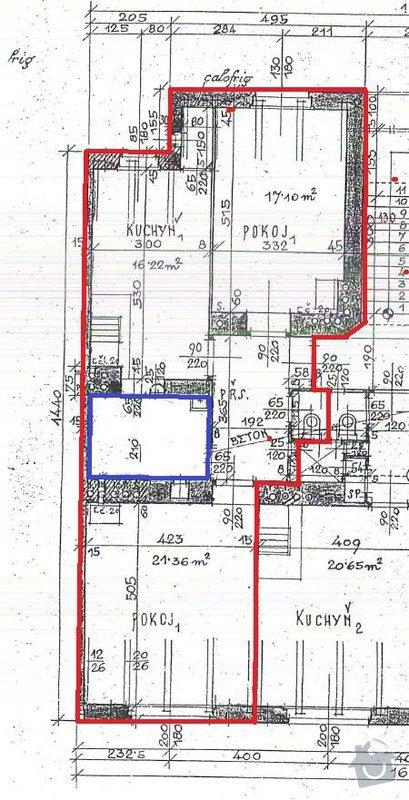 Rekonstrukce ZTI, topení, plyn, kouřovod (byt 3+kk, 67m2): Pudorys2