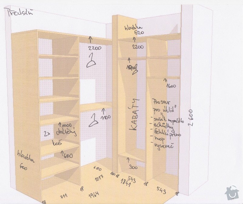 Vyroba a montaz vstavanej skrine: Predsin_-_vykres