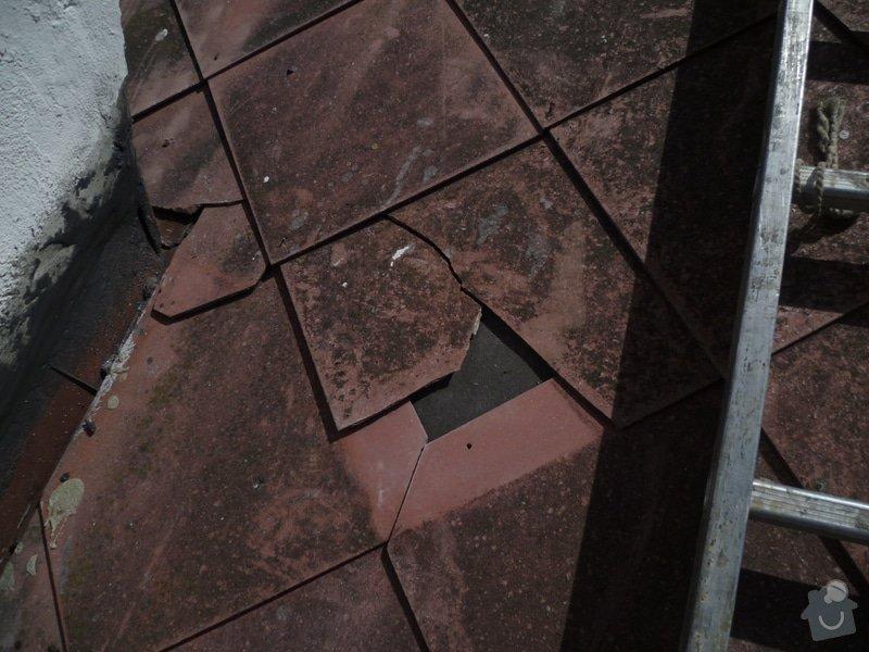 Pokládka nové střešní krytiny,nátěr žlabů a svodů: P1070297