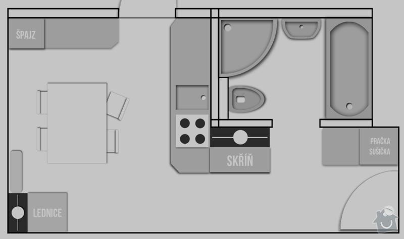 Komplexní rekonstrukce 2+1 včetně nového jádra a podlah: byt