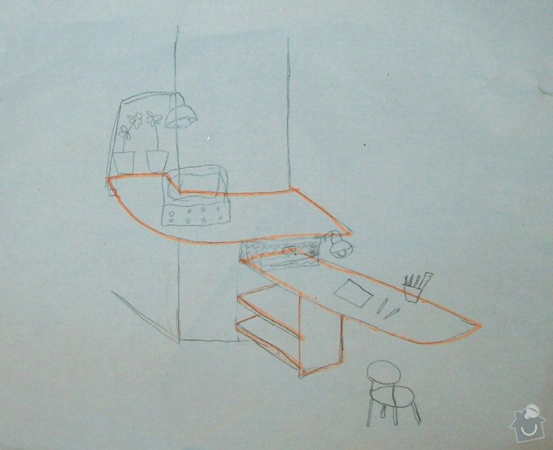 2 pracovní stoly upevňované ke stěně pomocí konzoli + police: Stul