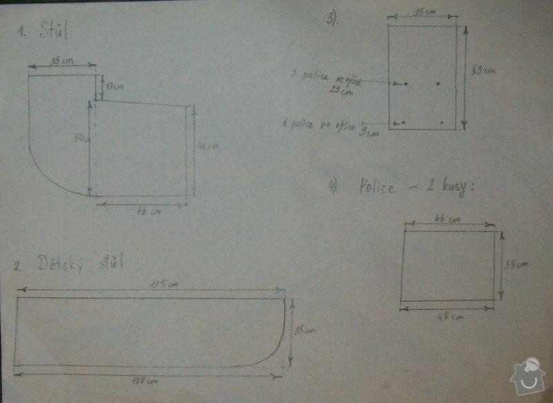 2 pracovní stoly upevňované ke stěně pomocí konzoli + police: Stul_2