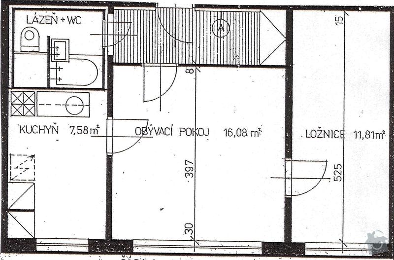 Elektroinstalace v bytě 2+1: bytPudorys
