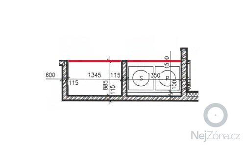 Bílé žaluziové dveře pro kout s pračkou a kumbál: pudorys