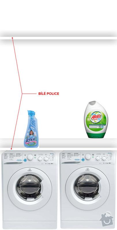 Bílé žaluziové dveře pro kout s pračkou a kumbál: pracka