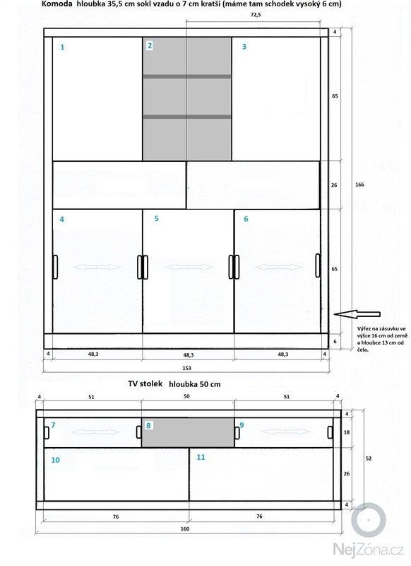 Zhotovení nábytku do obývacího pokoje a kuchyně: Komoda_a_TV_stolek