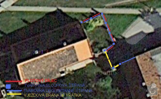 Plot předzahrádky s vjezdovou bránou: nakres_plotu