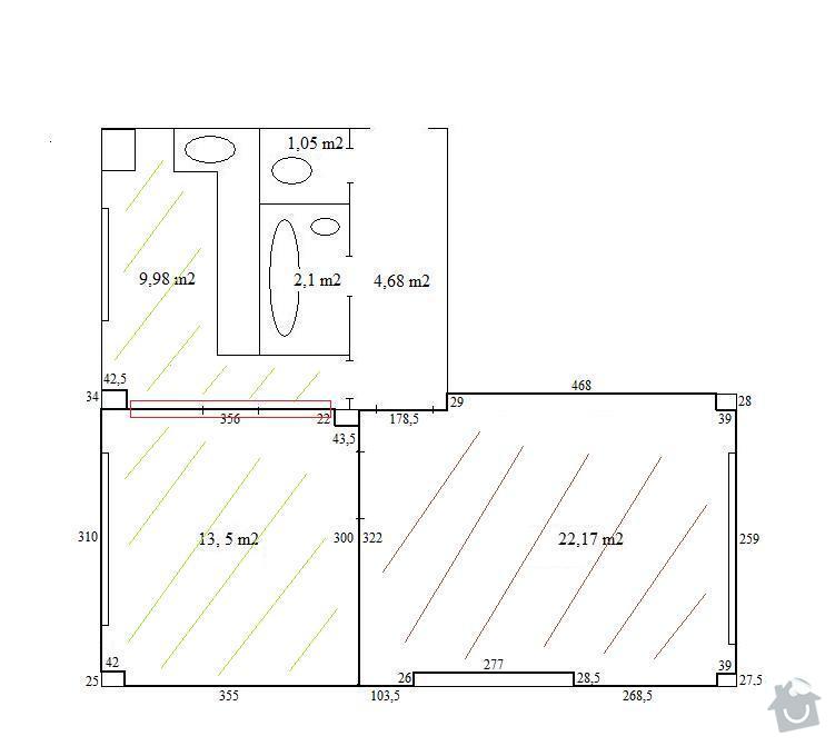 Podlahářské práce - pokládka lina ve dvou pokojích a renovace parket v 1 pokoji: Pudorys_Obloukova_podlahy