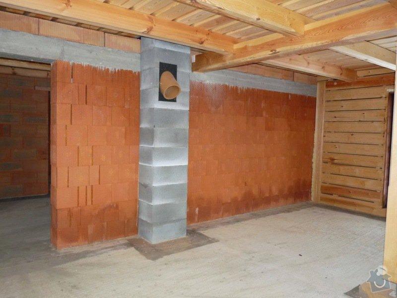 Zednické práce, novostavba roubenky: interier_2