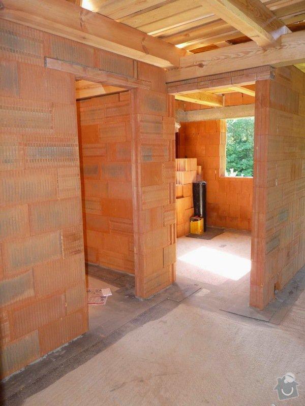 Zednické práce, novostavba roubenky: interier