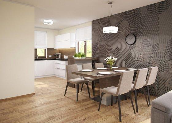 Návrh obývacího pokoje s jídelnou a kuchyní.