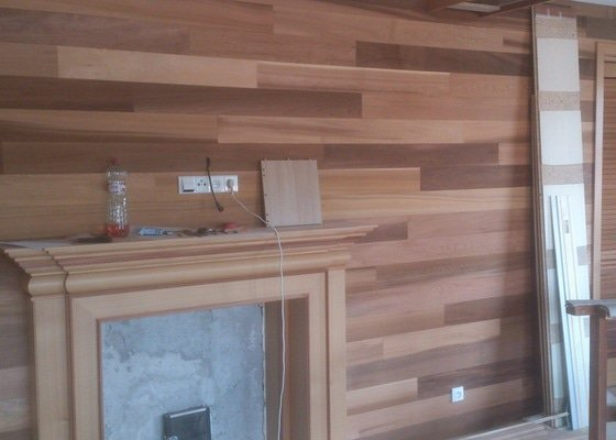 Dřevěné obložení, obložkové dveře, kuchyně, krbové obložení