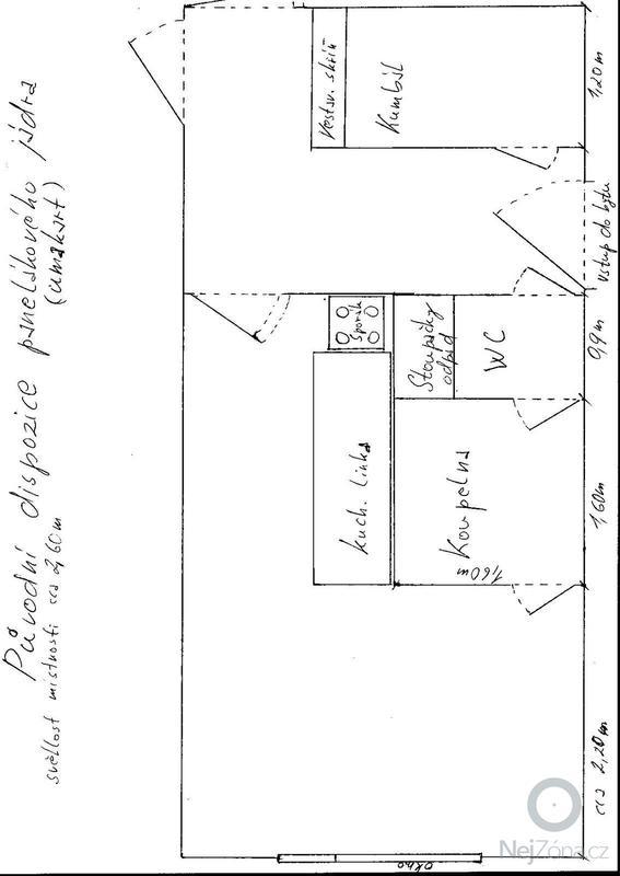Rekonstrukce bytového jádra: Byt_Louny_puvodni_dispozice