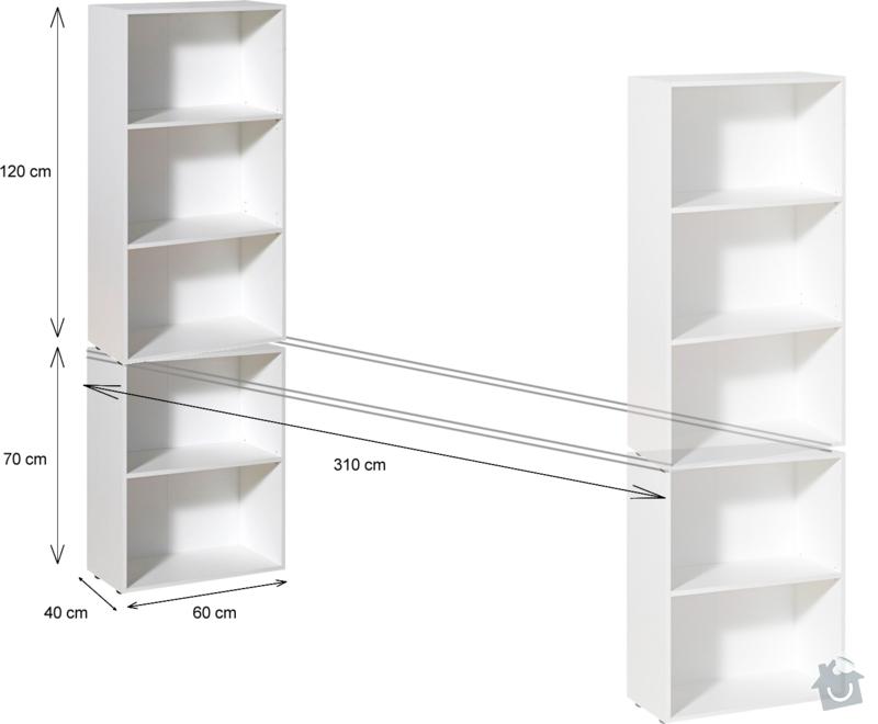 Výroba pokojové sestavy (stůl a regály): poptavka-sestava