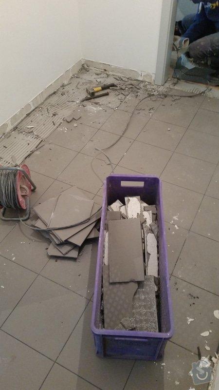 Pokládka dlažby chodba + 2x koupelna (cca 15m2): 1