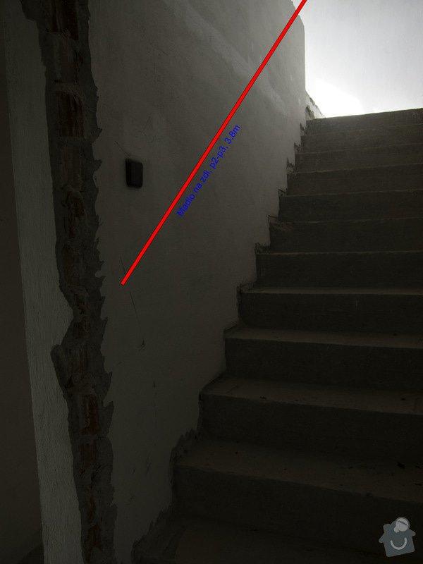 Obložení betonového schodiště a nové zábradlí: 2p-3p