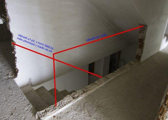 Obložení betonového schodiště a nové zábradlí