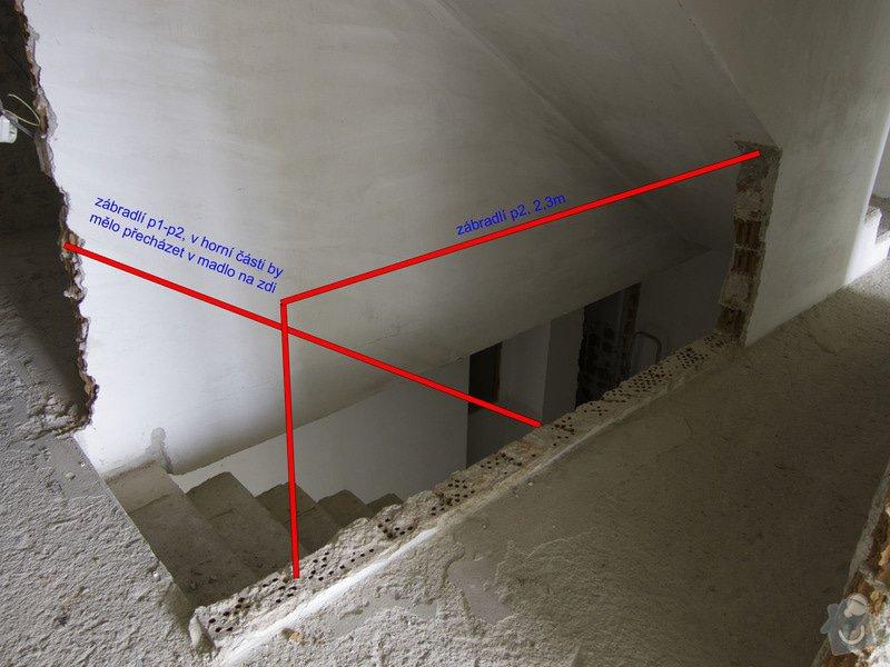Obložení betonového schodiště a nové zábradlí: 2p